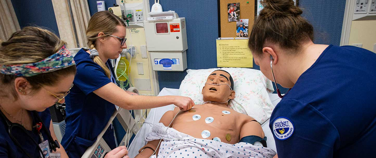 nursing students in lab
