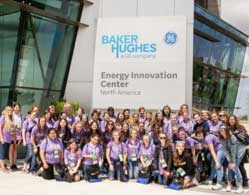 SAGE STEAM campers in front of Baker Hughes Energy Innovation Center in Oklahoma City