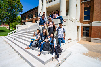 Students on Campus Steps Image