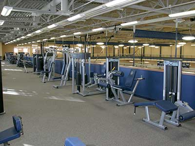 track and weights in the Wellness Center