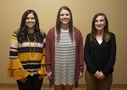 (from left)—Raegan Alvarez, El Reno, teaching at Okarche Elementary; Kaley Spoon, Calumet, teaching at Weatherford East Elementary; and Rebecca Shanklin, El Reno, teaching at El Reno Etta Dale Junior High and High School.