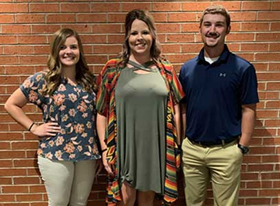 (From left): Morgan Sage, Binger, teaching in Hinton; Kelbi McSperitt, Carnegie, teaching in Carnegie; Luke Kinder, Carnegie, teaching in Watonga.