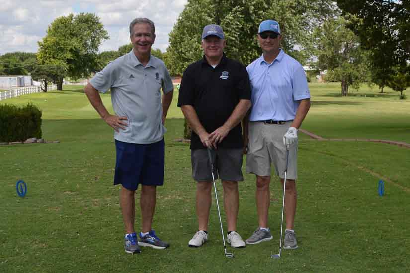 SWOSU graduates Mike Brown, Todd York and Curtis Erwin enjoy the recent 2020 SWOSU Football Legacy Fund Golf Tournament held in Weatherford.